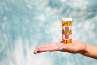An unidentifiable womans hand holds Medical Marijuana aka Pot, D